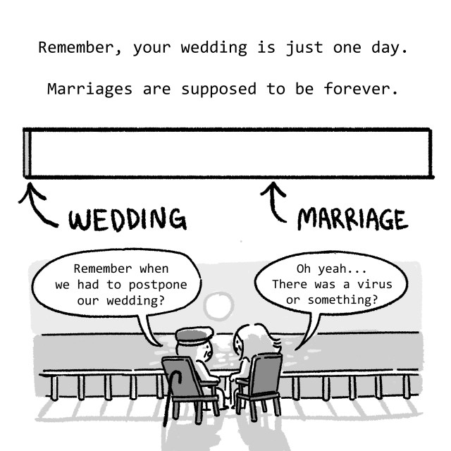 Remember, your wedding is just one day. Marriages are supposed to be forever.