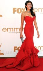 nina-dobrev-red-fishtail-gown