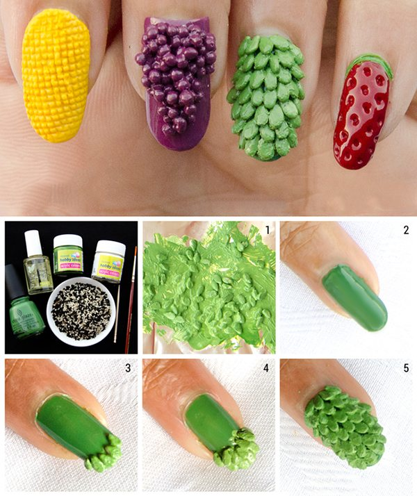 3d nail art in 5 simple steps the woman life for finishing dab little fresh green polish over sesame seeds with a thin nail art brush prinsesfo Image collections