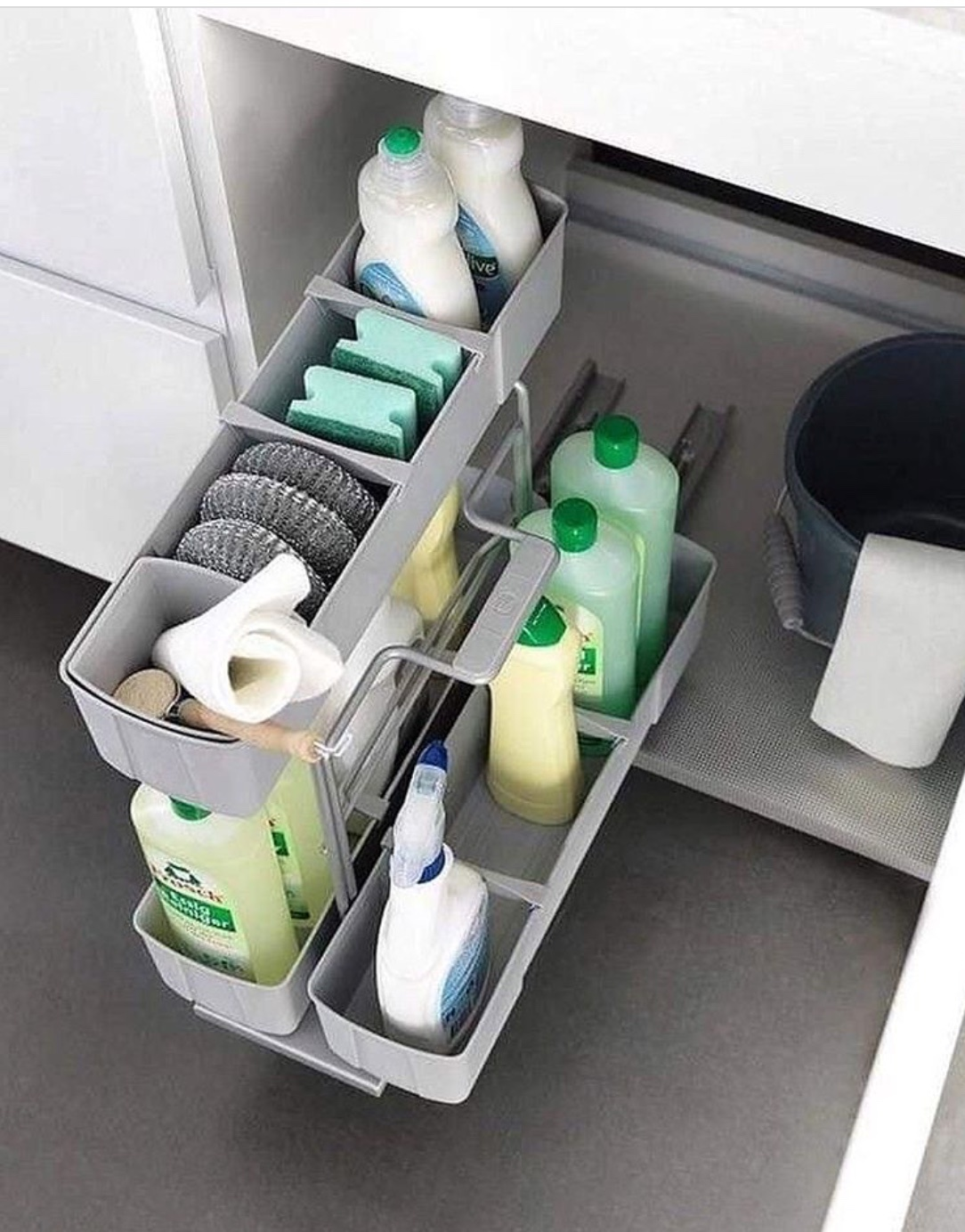 organize the space under the sink