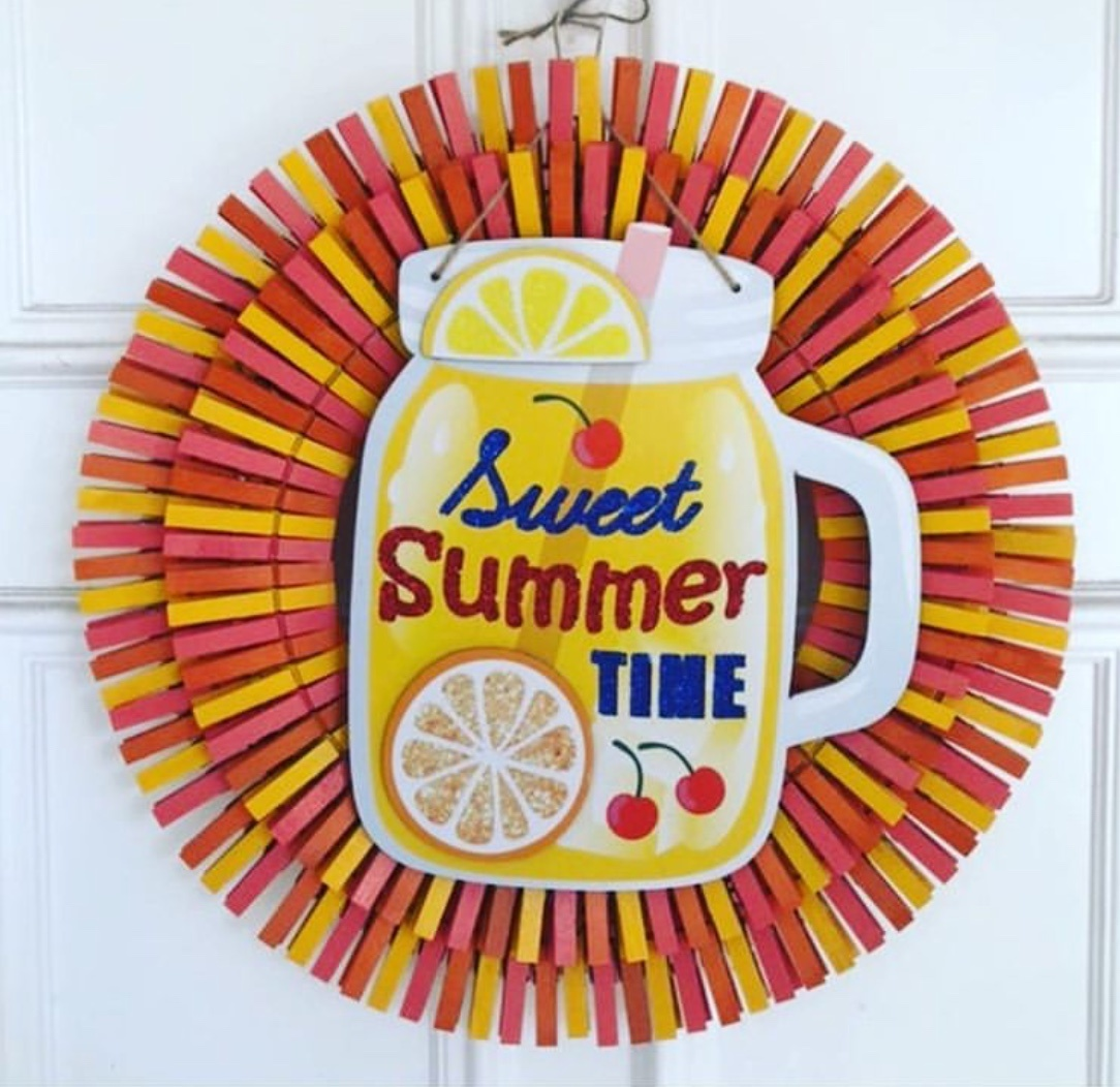 clothespin wreath for summer