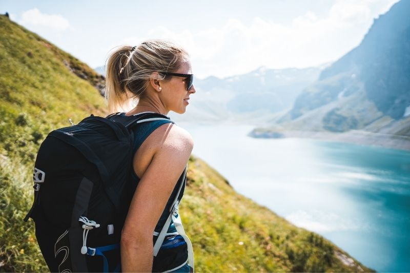 sportive girl hiking