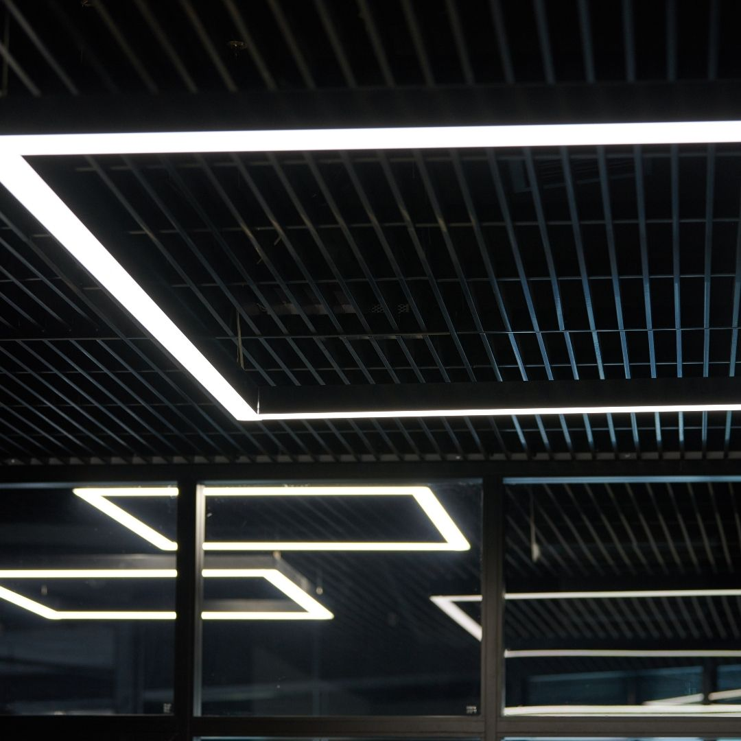 Led white cold lights over workplaces