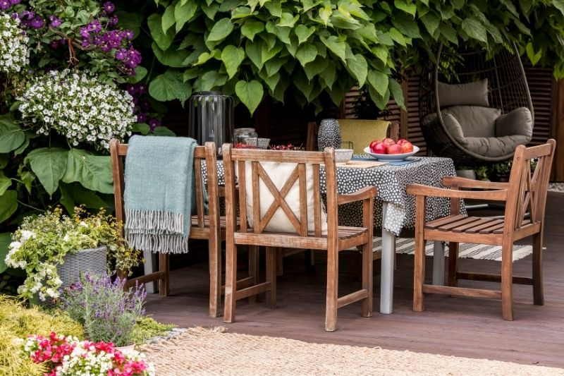 garden furniture on terrace