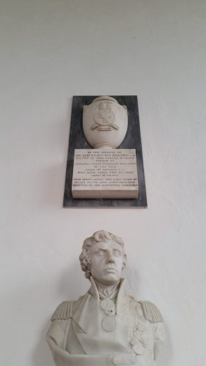 Memorial to Nelson's father above Nelson's bust