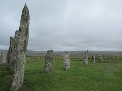 Stone circle on the left and a stone row to the right