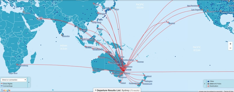 Direct OneWorld flights connecting Sydney