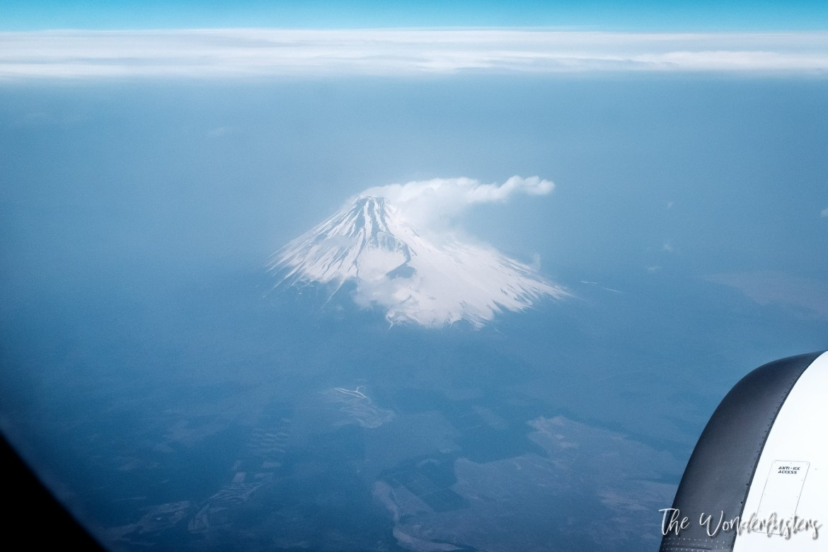 Flying over Mount Fuji