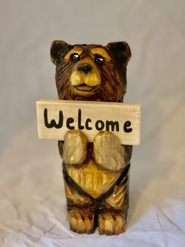 wooden 1ft welcome bear