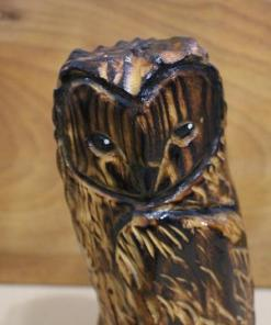Burned Owl Chainsaw Carving