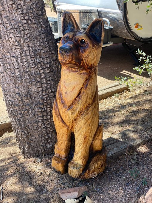german shepard wood carving