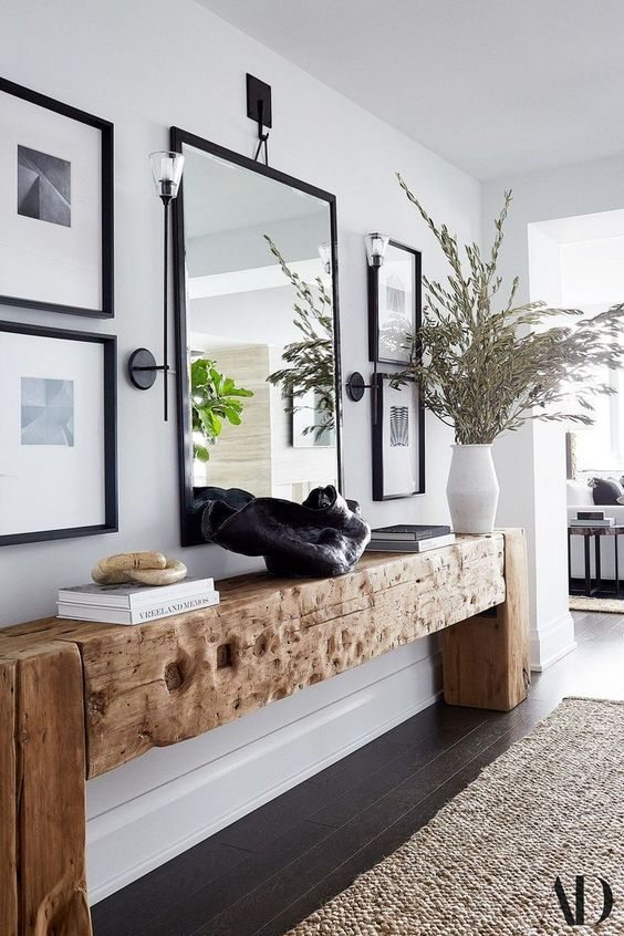 Reclaimed wood hallway console table.