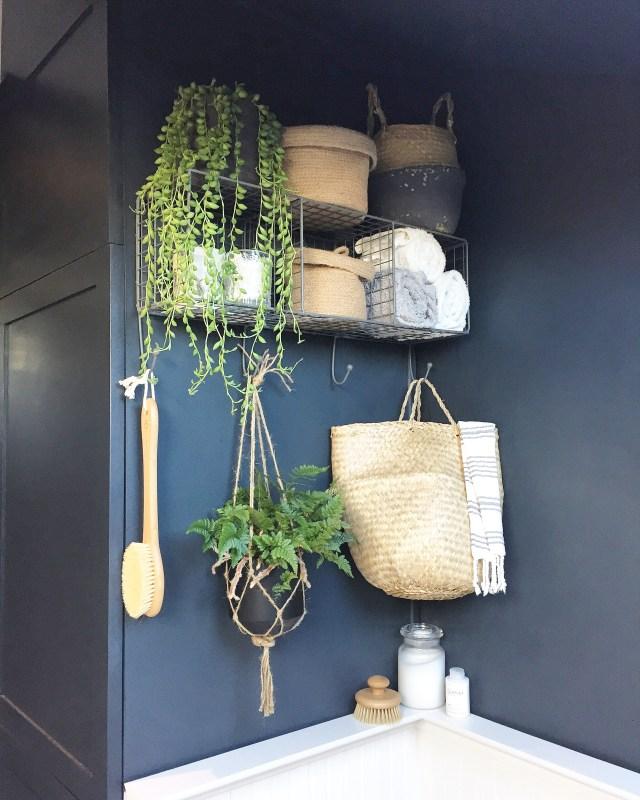Wicker storage baskets.