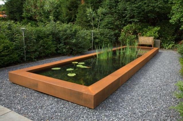 Corten steel pond.