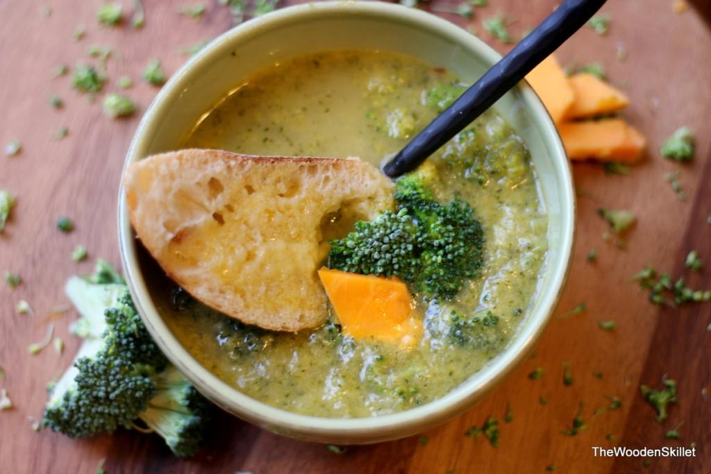 Broccoli Cheese Soup with Sauce Veloute Base - the perfect hearty soup recipe for fall and winter! thewoodenskillet.com #souprecipe