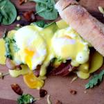 Eggs Benedict with Spinach, Arugula and Bacon