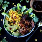 Barbecue Pork Salad with Cilantro, Corn and Avocado