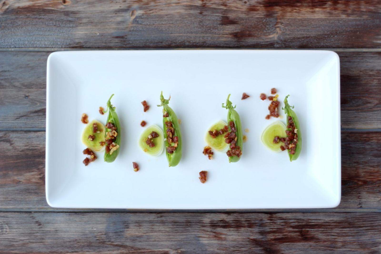 Spanish Chorizo and Leek Stuffed Pea Pods