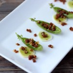 Spanish Chorizo and Leek Stuffed Pea Pods