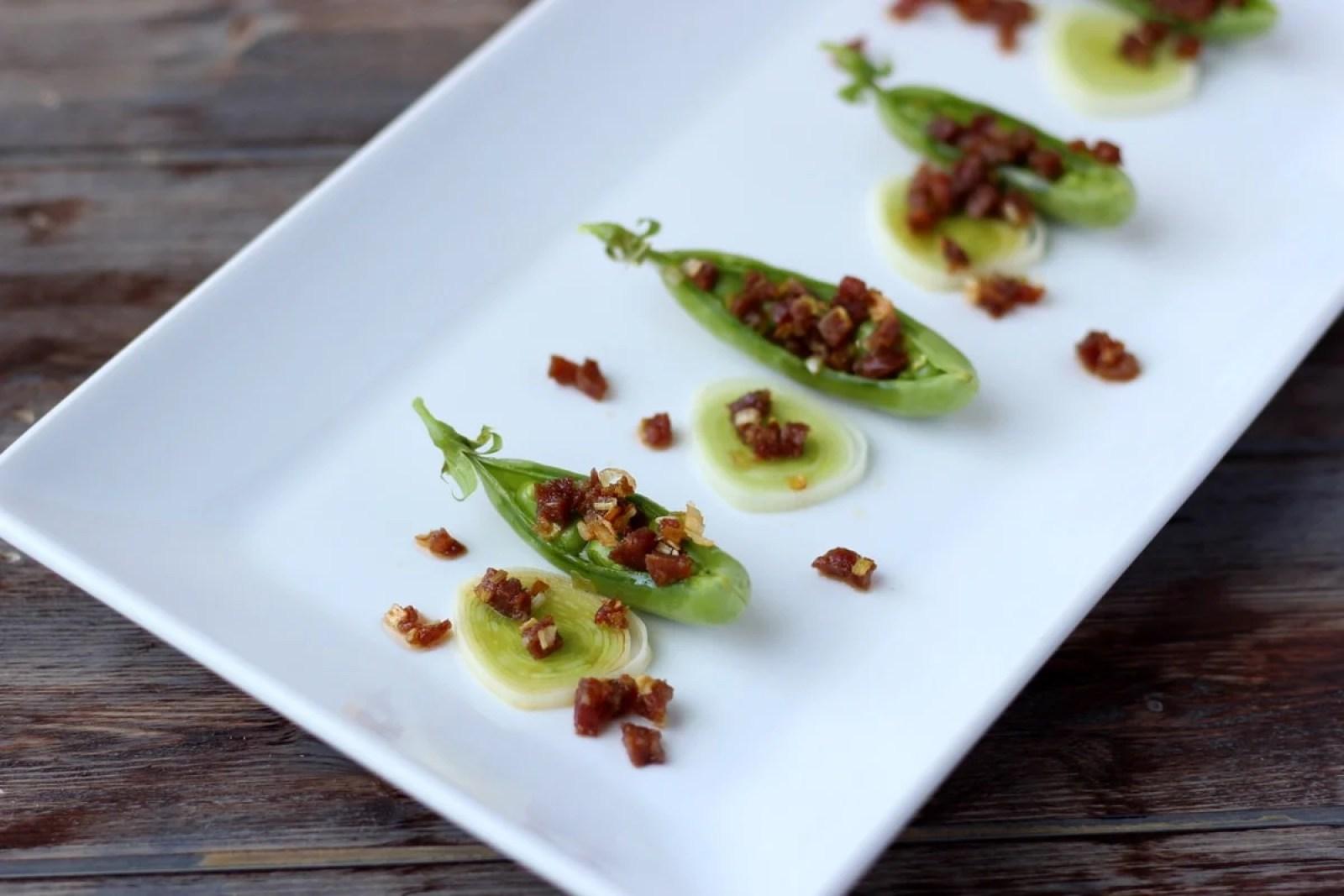 Spanish Chorizo and Leek Stuffed Pea Pods - thewoodenskillet.com #appetizer