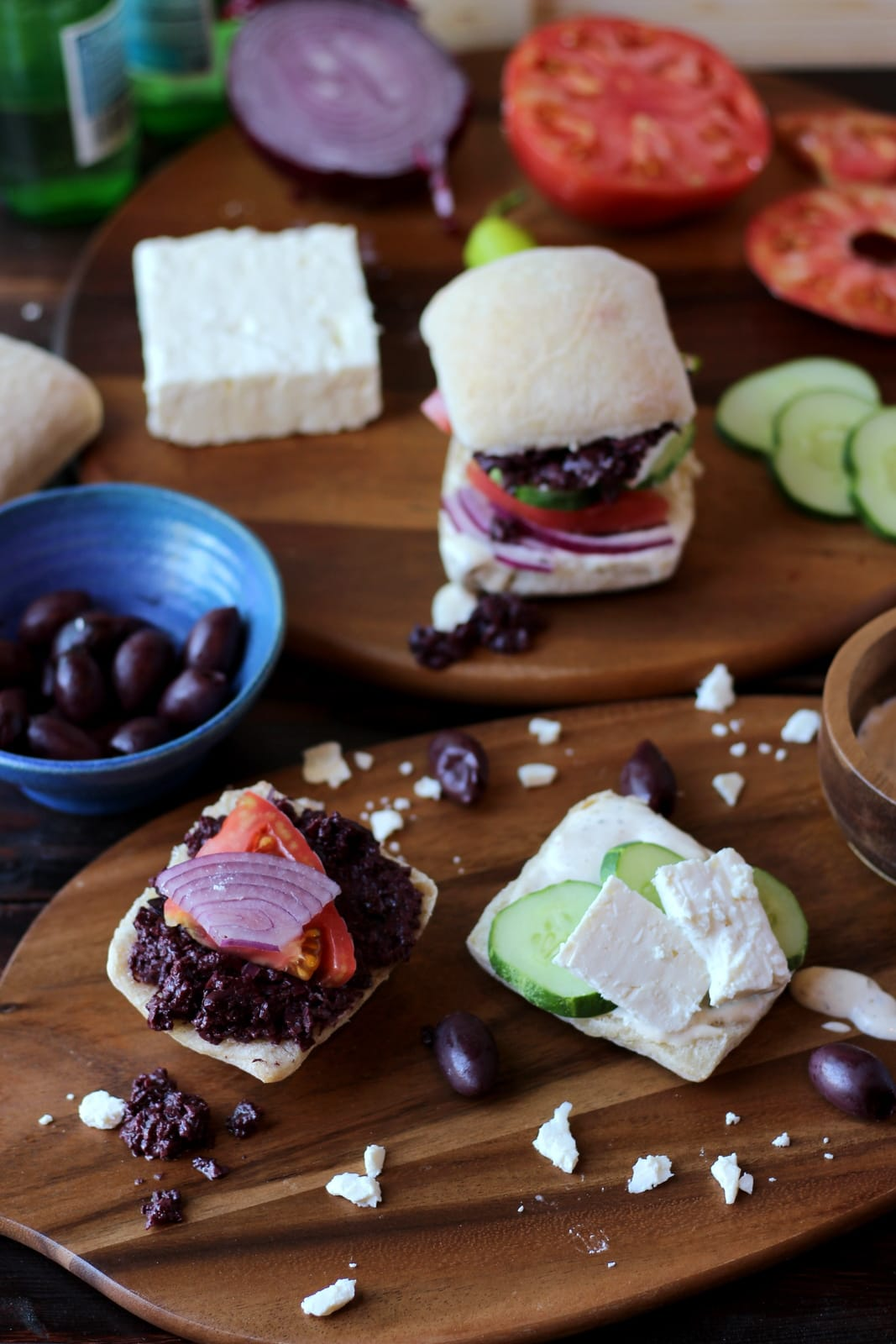 Greek Salad Sandwich with Kalamata Olive Tapenade and Greek Aioli - The Wooden Skillet thewoodenskillet.com