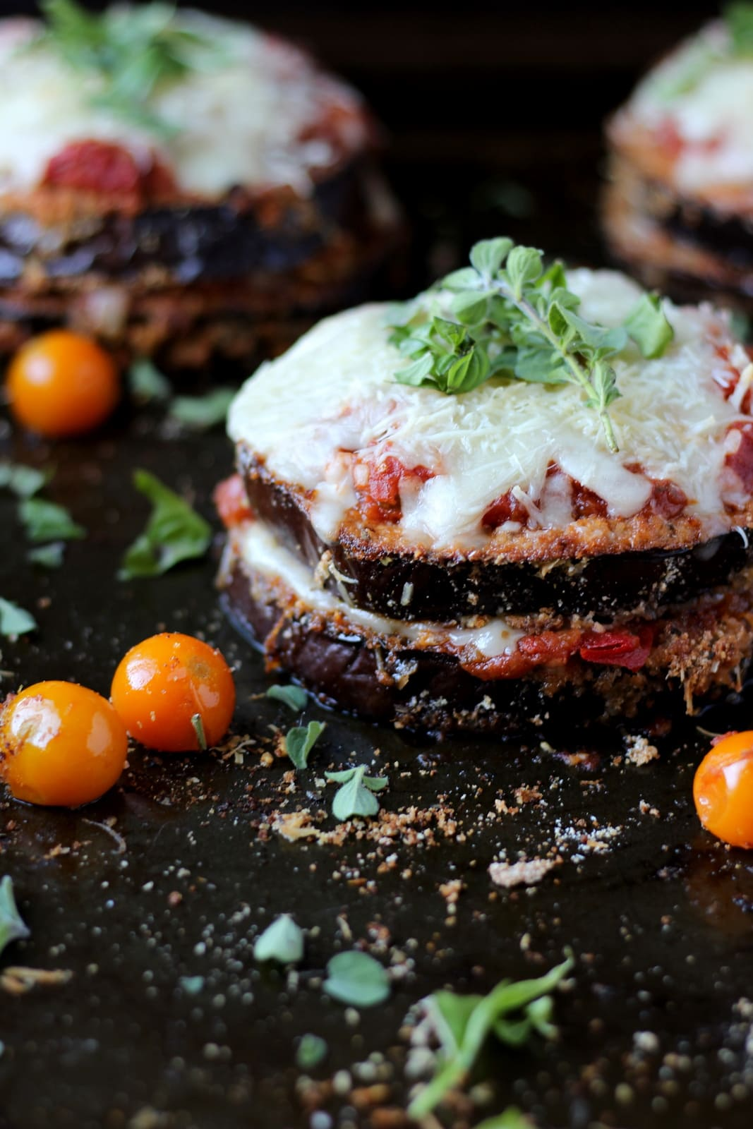 Baked Eggplant Parmesan - thewoodenskillet.com #dinner #entree #meatless