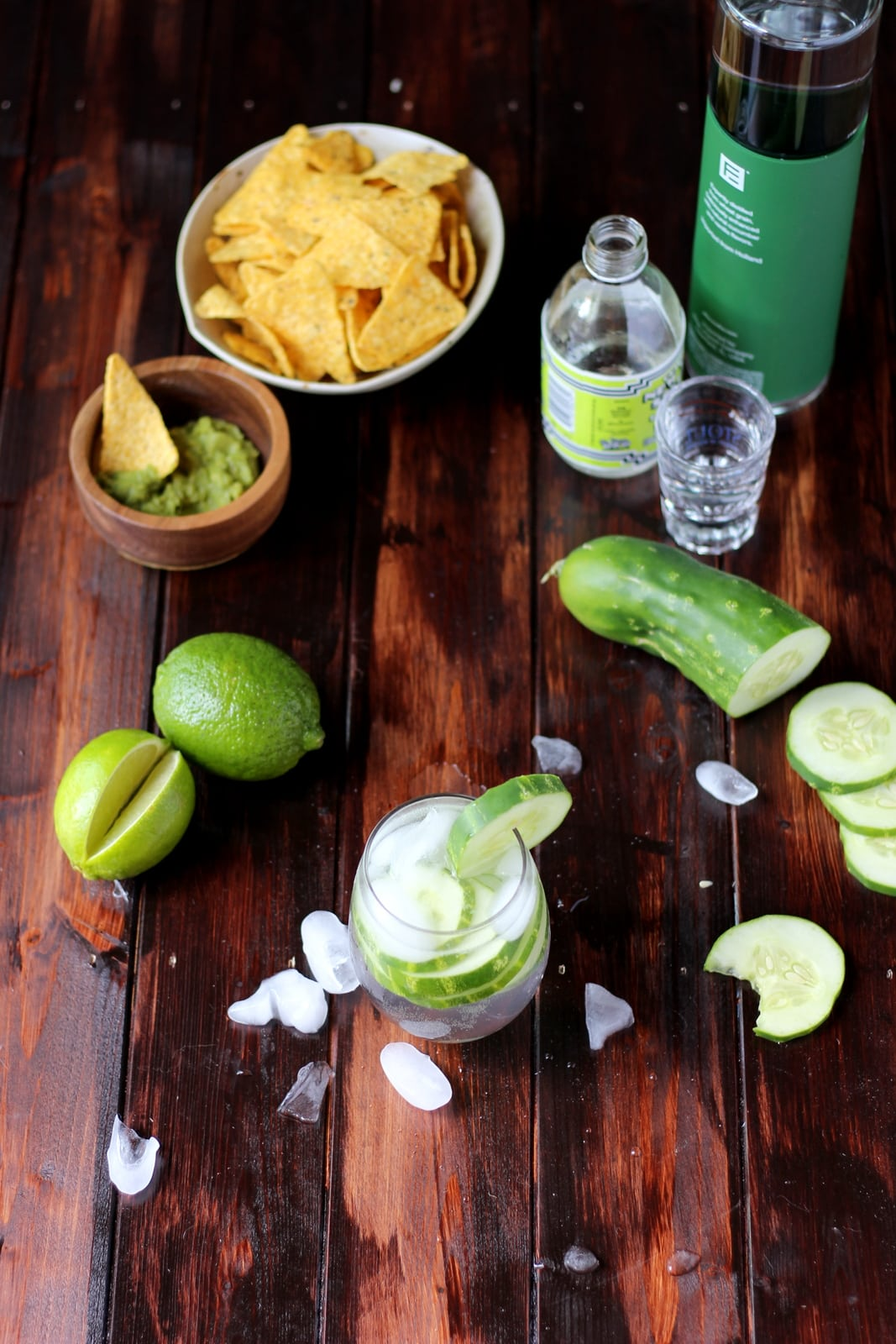 Cucumber Vodka Water - thewoodenskillet.com #cocktail #foodphotography #foodstyling