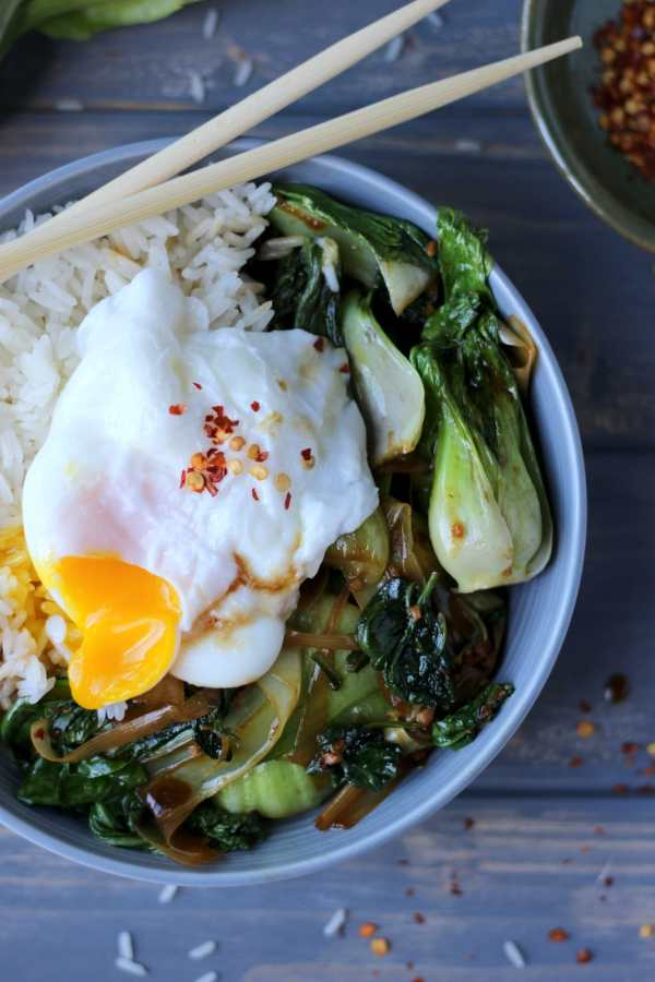 Vegetarian Rice Bowl with Braised Bok Choy, Leeks and Spinach