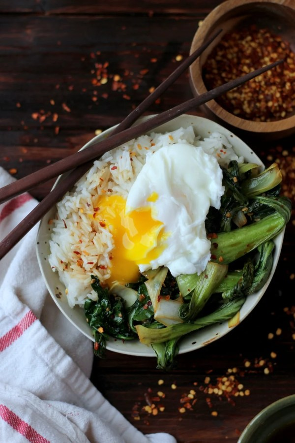 Vegetarian Rice Bowl with Bok Choy, Leeks, Spinach and Poached Egg