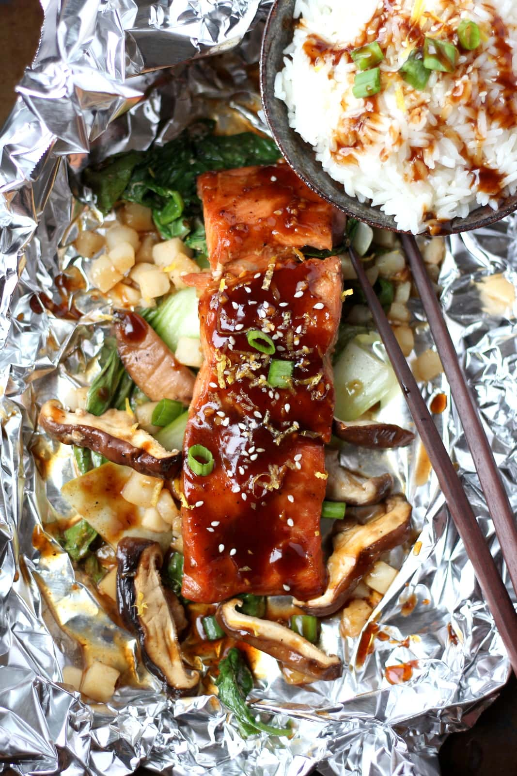 Miso Salmon in Foil with Shiitake Mushrooms and Baby Bok Choy over Rice
