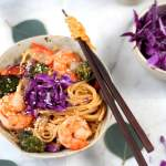 Sweet Curried Rice Noodles + Shrimp and Roasted Vegetables