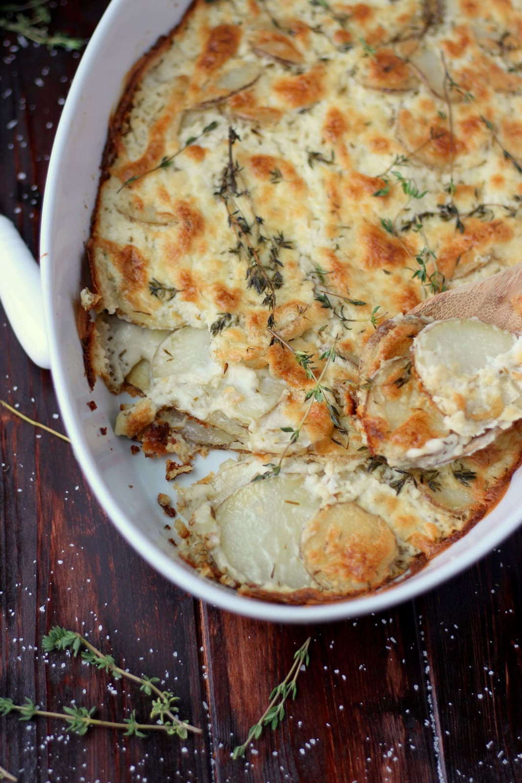 Goat Cheese Potatoes Au Gratin + Browned Butter and Fresh Thyme - awesome Thanksgiving recipe! thewoodenskillet.com #foodphotography #foodstyling