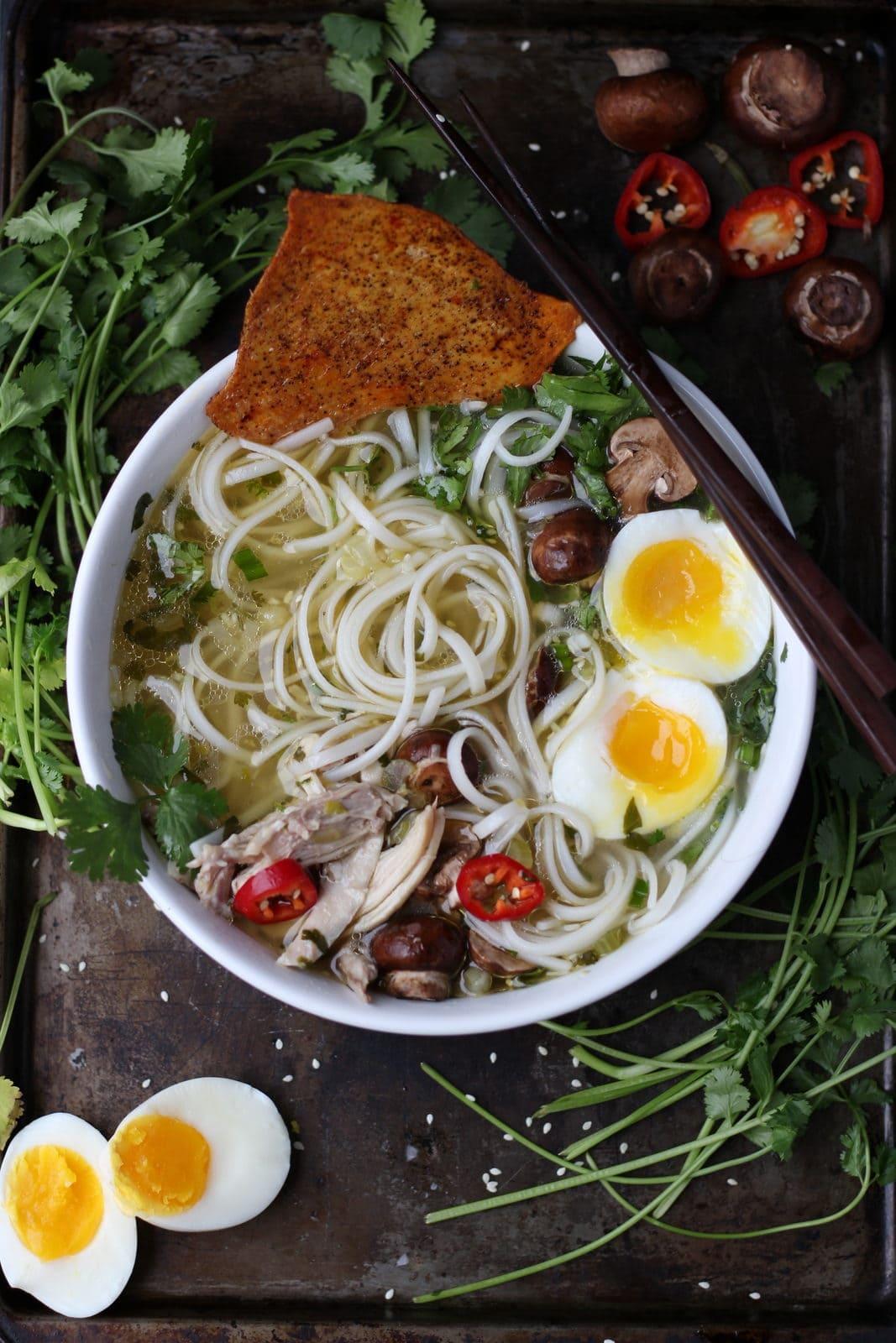 Chicken Ramen Noodle Soup + Crispy Chicken Skins - thewoodenskillet.com #foodphotography #foodstyling