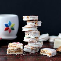 Classic White Chocolate + Peanut Butter Dipped Christmas Cookies