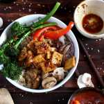 Brown Rice Tofu Bowl + Roasted Vegetables and Soy, Ginger, Garlic Sauce