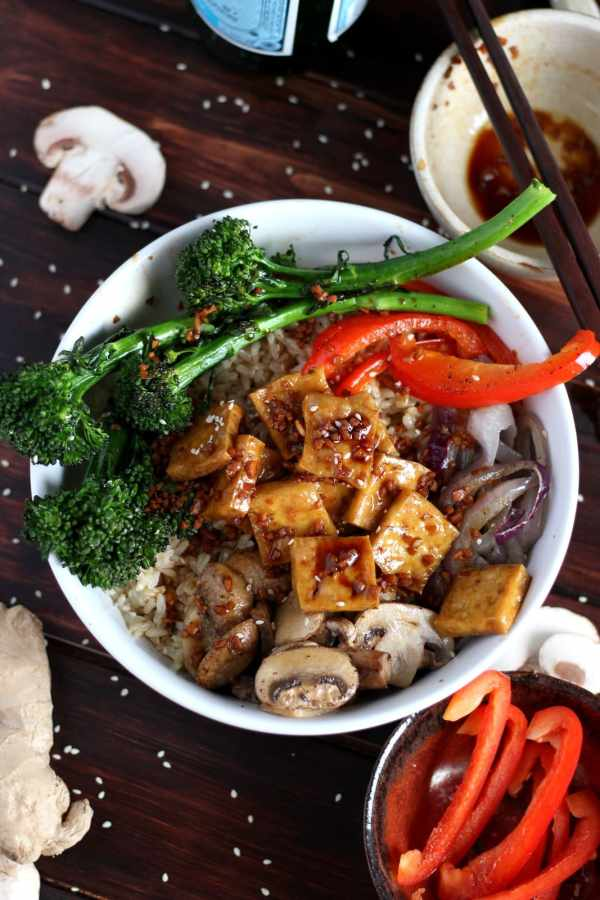 Brown Rice Tofu Bowl + Roasted Vegetables and Soy, Ginger, Garlic Sauce.