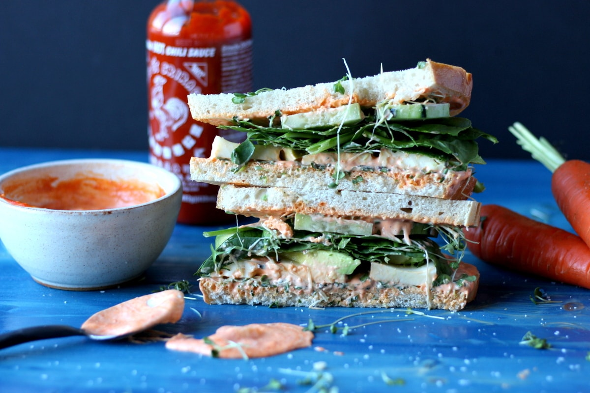 Healthy Avocado and Cheese Sandwich on Sourdough + Spicy Siracha Mayo - thewoodenskillet.com