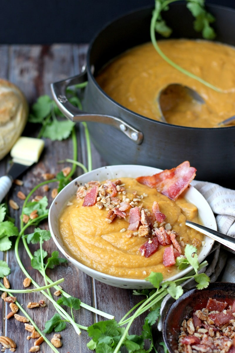 Creamy Winter Soup + Candied Pecans and Bacon. thewoodenskillet.com #foodphotography