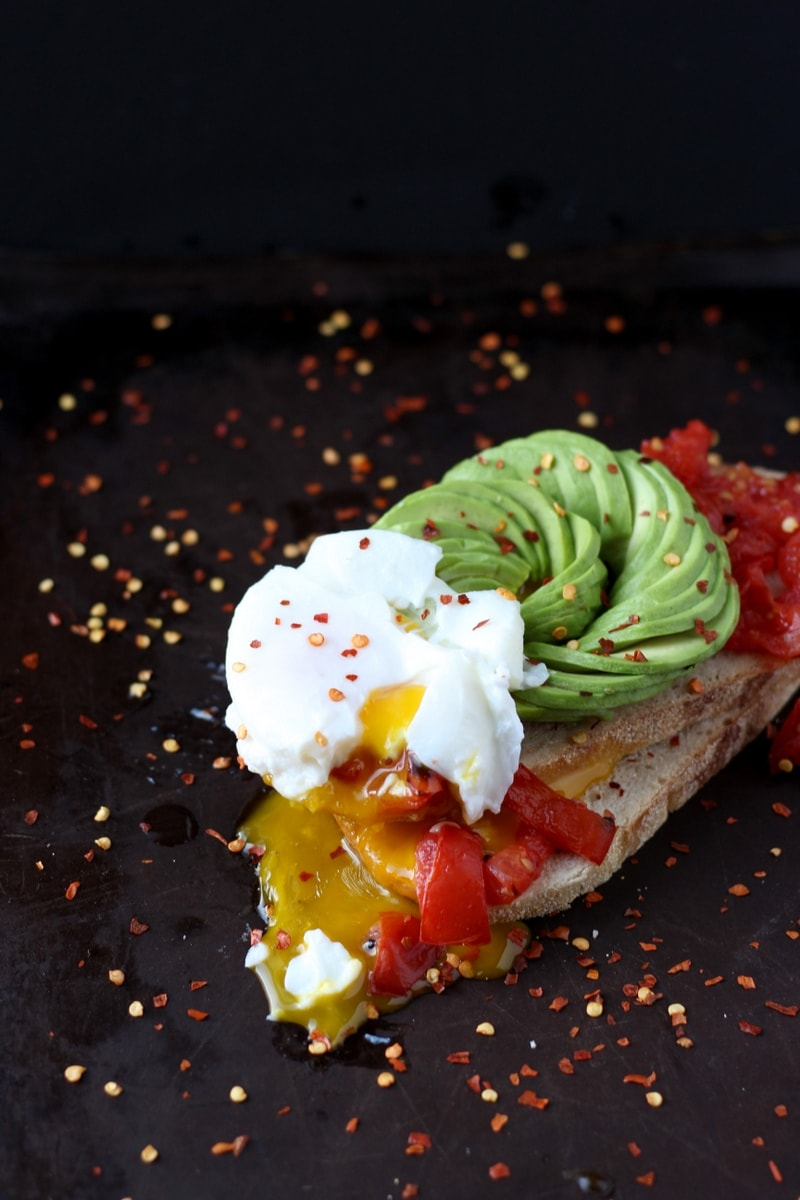 Avocado Toast + Roasted Tomatoes and Poached Egg - thewoodenskillet.com