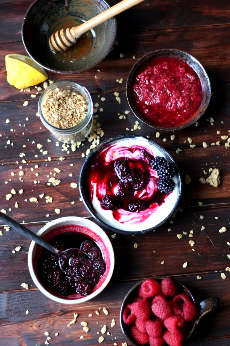 Homemade Blackberry Compote served over Greek yogurt with granola - the perfect breakfast recipe! thewoodenskillet.com #foodphotography