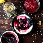 Homemade Blackberry Compote served over Greek yogurt with granola - the perfect breakfast recipe! thewoodenskillet.com