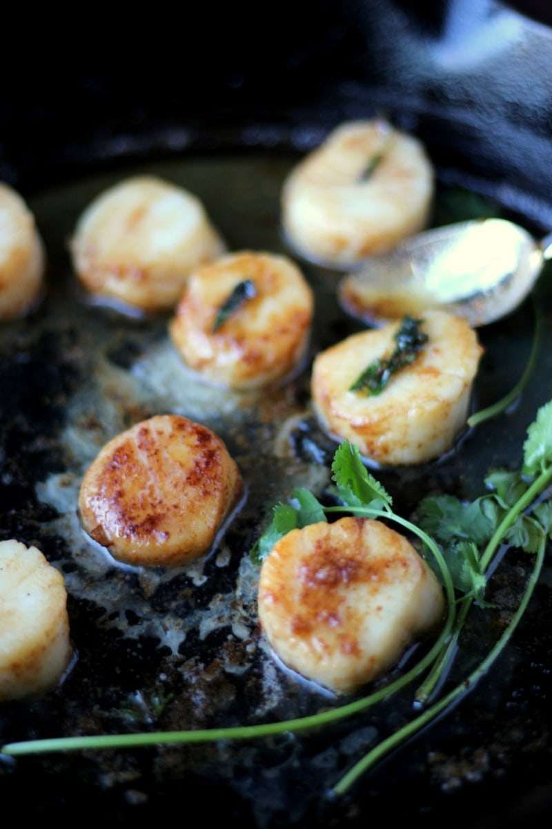 Brown-Buttered Scallops - the perfect meal for Valentine's Day or any special occasion! thewoodenskillet.com