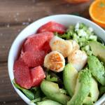 Seared Scallop Salad + Grapefruit and Avocado