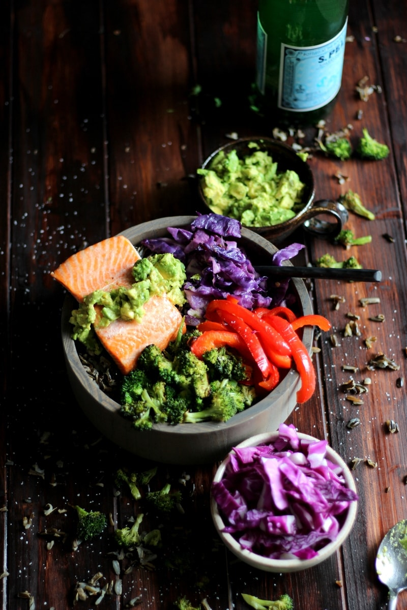 Salmon Power Bowl + Roasted Vegetables and Avocado - a healthy and delicious bowl of nutrients perfect for lunch or dinner. thewoodenskillet.com #foodphotography
