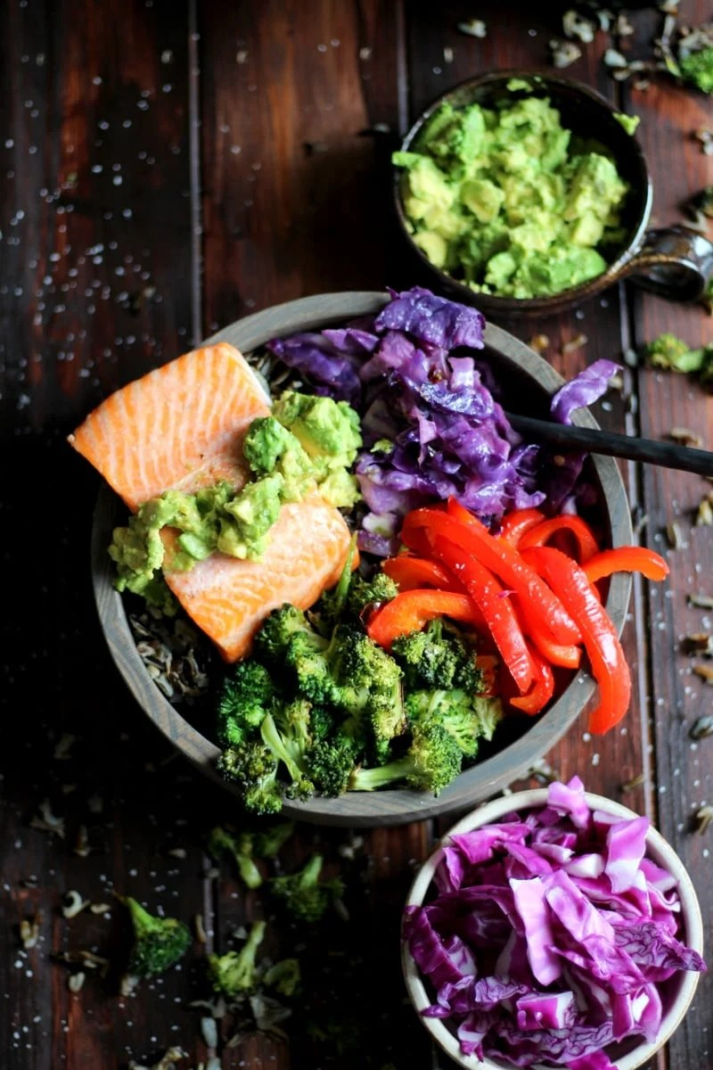 Salmon Power Bowl + Roasted Vegetables and Avocado. thewoodenskillet.com