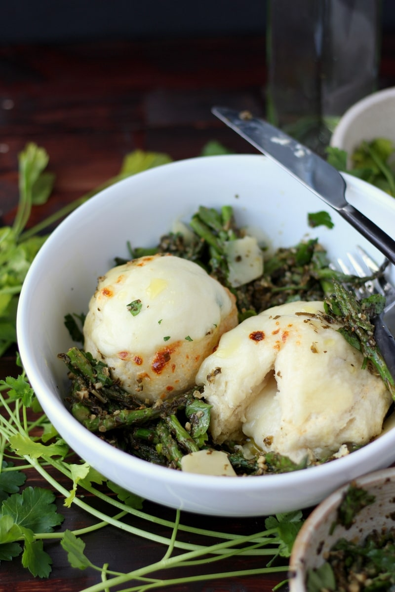 Cheese-Stuffed Dumplings + Pesto and Roasted Asparagus