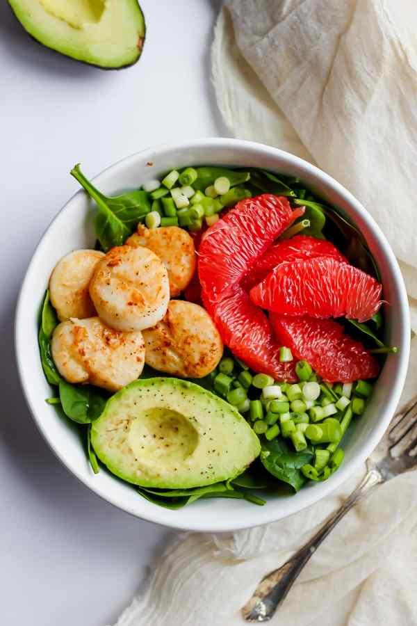 Seared Scallop Salad + Grapefruit and Avocado