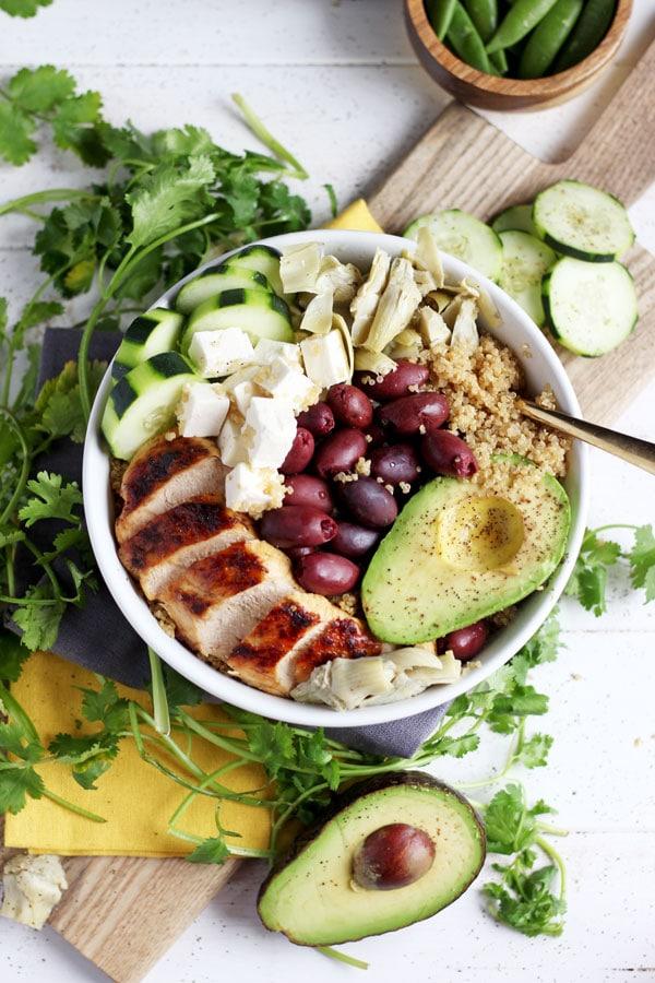 Organic Mediterranean Chicken Quinoa Bowl + Avocado. thewoodenskillet.com #foodphotography