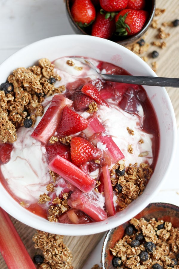 Braised Strawberry Rhubarb Compote + Yogurt and Granola