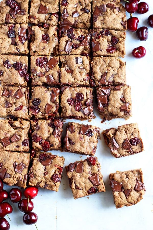 Brown Butter Cherry Chocolate Chunk Cookie Bars - thewoodenskillet.com